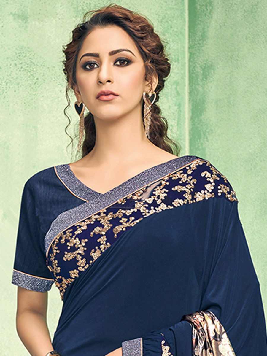 Yale Blue Lycra Embroidered Party Saree