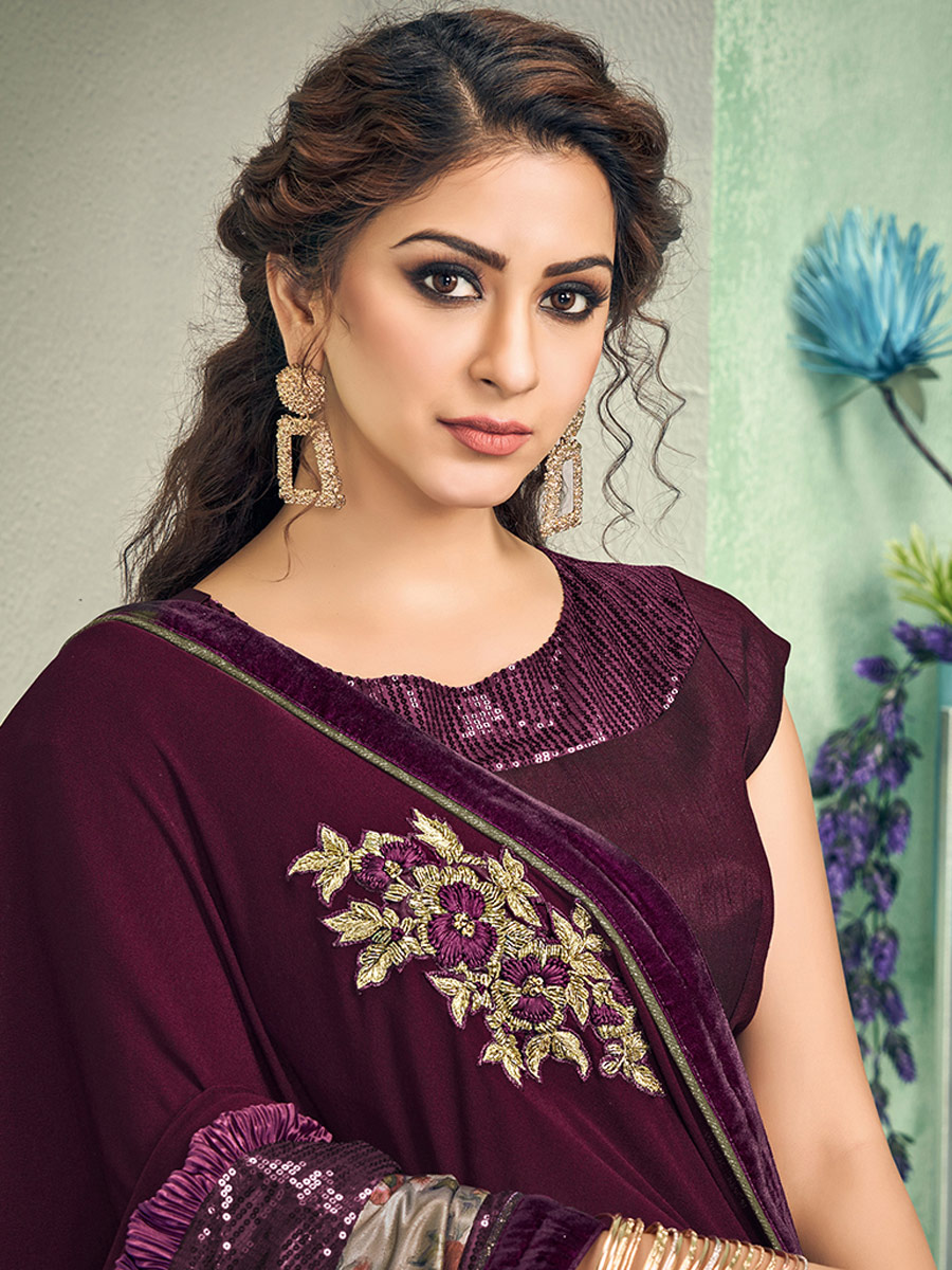 Maroon Lycra Embroidered Party Saree