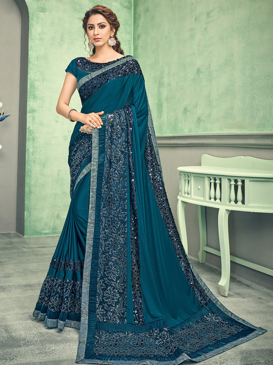 Teal Blue Lycra Embroidered Party Saree