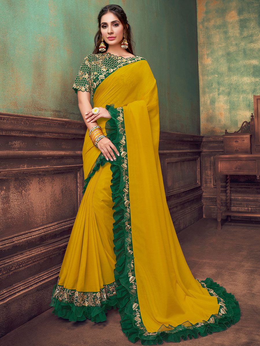 Mustard Yellow Silk Georgette Embroidered Festival Saree