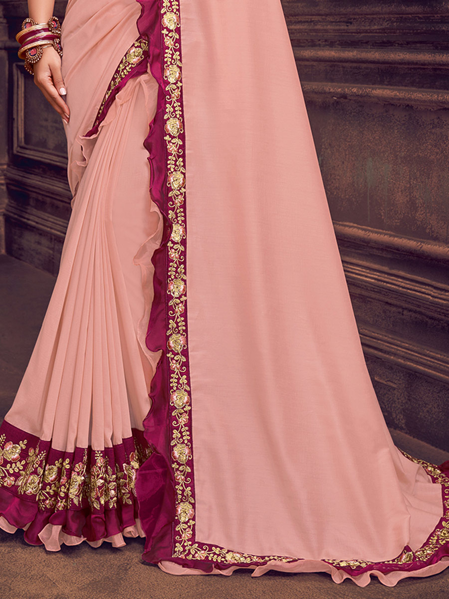 Coral Pink Silk Georgette Embroidered Festival Saree