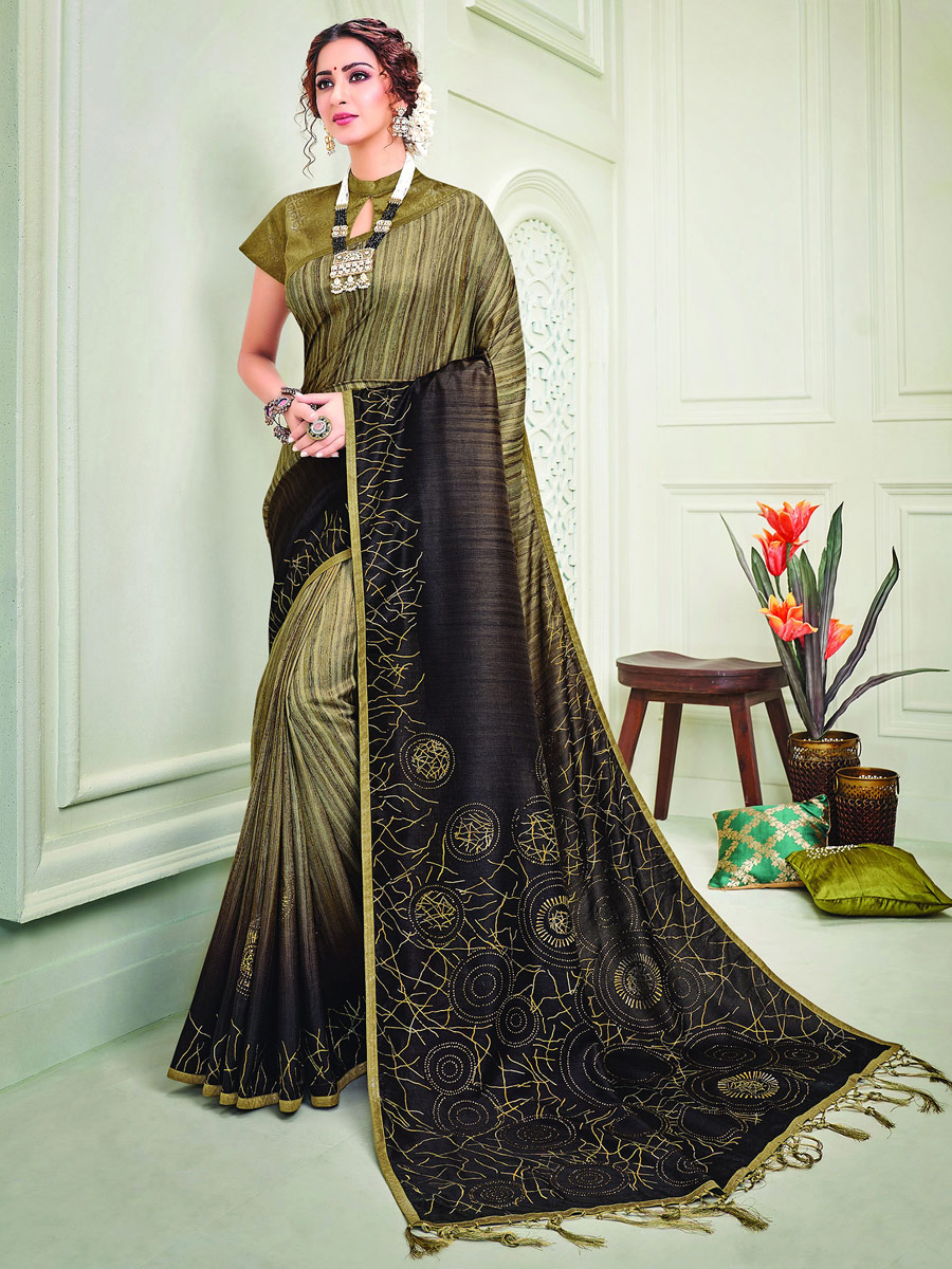 Olive Green and Black Silk Designer Party Saree