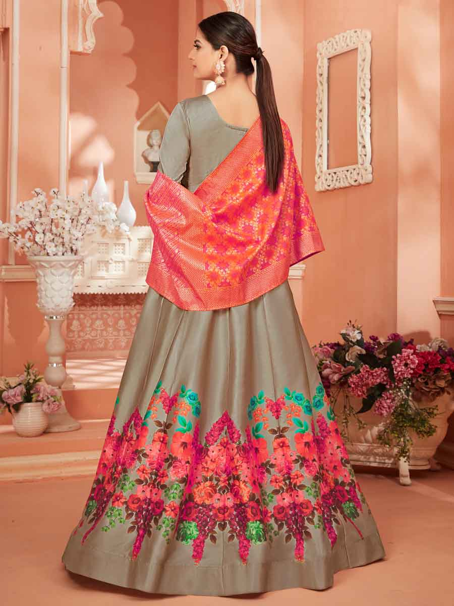 Gray Satin Embroidered Party Lawn Kameez