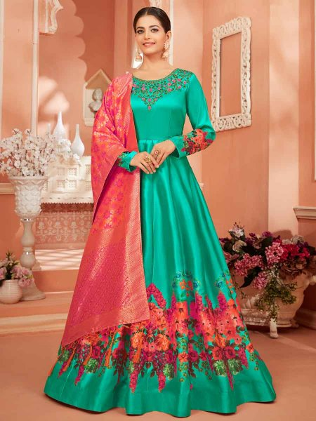 Jade Green Satin Embroidered Party Lawn Kameez