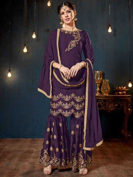 Persian Indigo Violet Satin Georgette Embroidered Party Sharara Pant Kameez