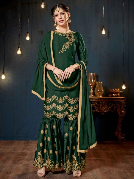Hunter Green Satin Georgette Embroidered Party Sharara Pant Kameez