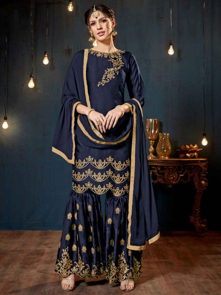 Prussian Blue Satin Georgette Embroidered Party Sharara Pant Kameez
