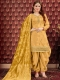 Amber Yellow Pure Viscose Upada Festival Embroidered Patiala Kameez