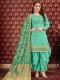 Persian green Pure Viscose Upada Festival Embroidered Patiala Kameez