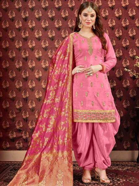 Brink Pink Pure Viscose Upada Festival Embroidered Patiala Kameez