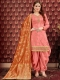 Coral pink Pure Viscose Upada Festival Embroidered Patiala Kameez