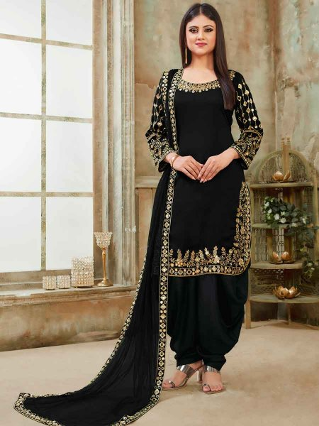 Black Art Silk Party Embroidered Patiala Kameez