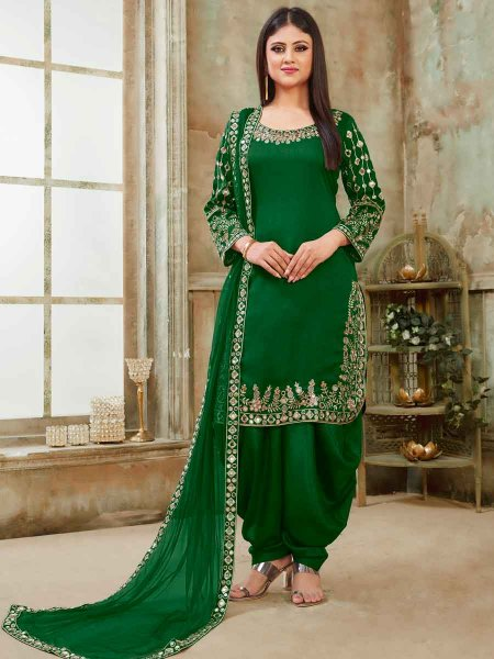 British Racing Green Art Silk Party Embroidered Patiala Kameez