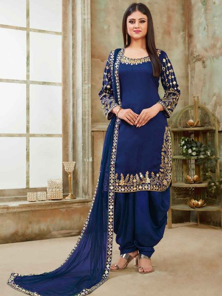 Midnight blue Art Silk Party Embroidered Patiala Kameez