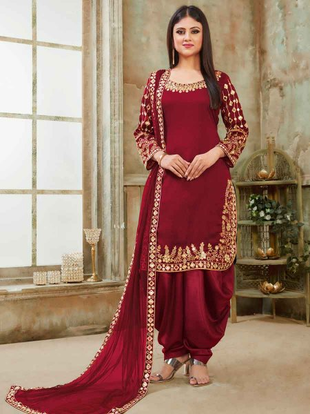 Maroon Art Silk Party Embroidered Patiala Kameez