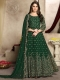 Hunter Green Faux Georgette Embroidered Party Lawn Kameez