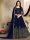 Sapphire Blue Faux Georgette Embroidered Party Lawn Kameez