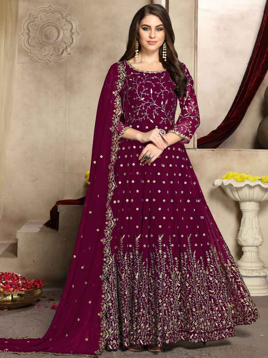 Wine Red Faux Georgette Embroidered Party Lawn Kameez