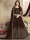 Seal Brown Faux Georgette Embroidered Party Lawn Kameez