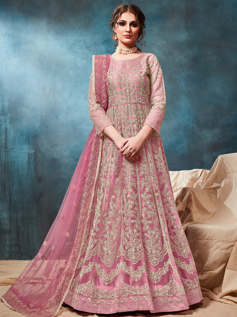 Thulian Pink Net Embroidered Party Lawn Kameez