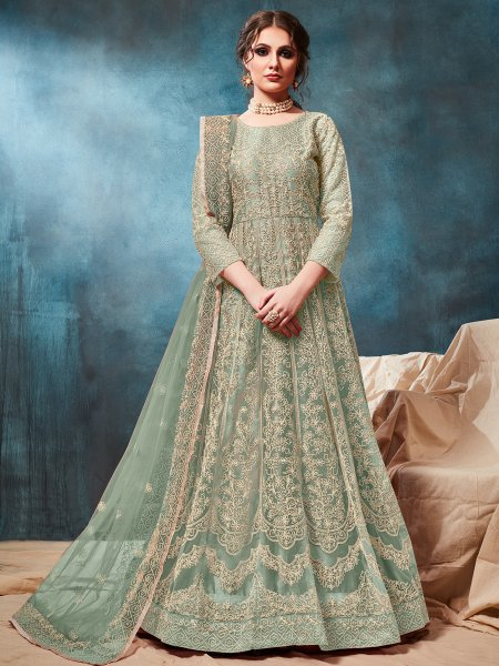 Celadon Green Net Embroidered Party Lawn Kameez