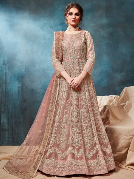 Light Thulian Pink Net Embroidered Party Lawn Kameez