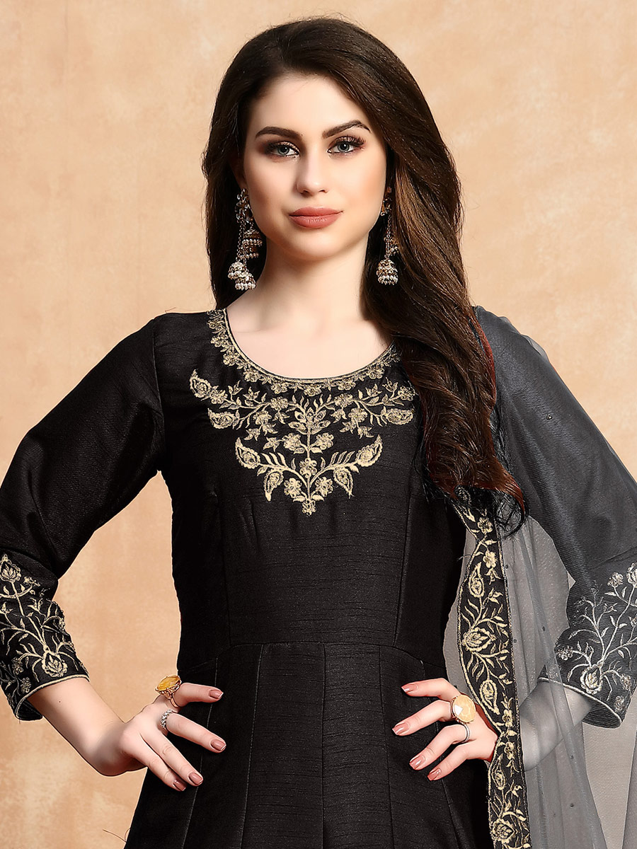 Black Art Silk Embroidered Party Lawn Kameez