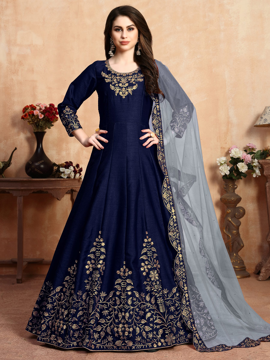Navy Blue Art Silk Embroidered Party Lawn Kameez