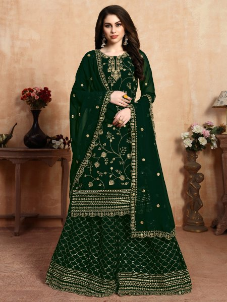 Dark Green Faux Georgette Embroidered Party Palazzo Pant Kameez
