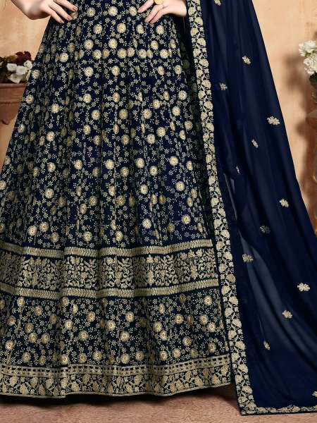 Navy Blue Faux Georgette Embroidered Party Lawn Kameez