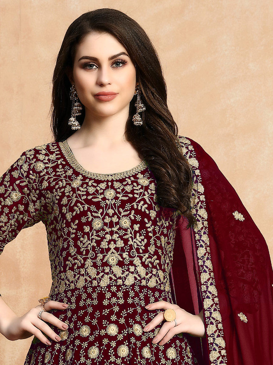 Maroon Faux Georgette Embroidered Party Lawn Kameez