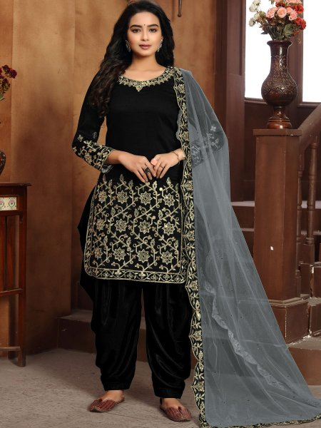 Black Art Silk Embroidered Festival Patiala Pant Kameez