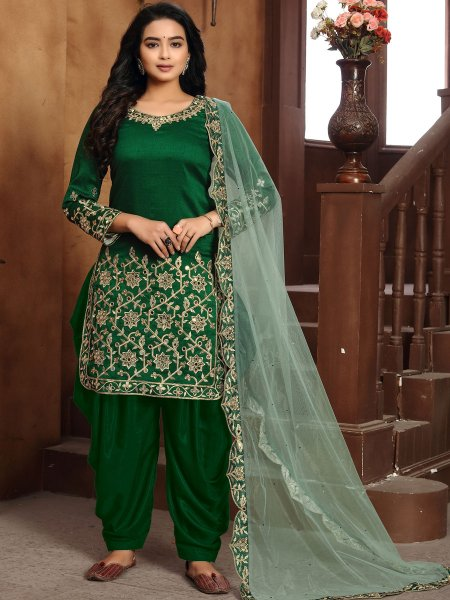 Dark Green Art Silk Embroidered Festival Patiala Pant Kameez