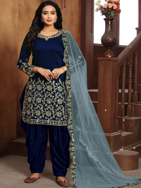 Navy Blue Art Silk Embroidered Festival Patiala Pant Kameez
