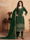 Dark Green Faux Georgette Embroidered Party Pant Kameez