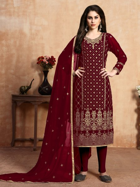 Maroon Faux Georgette Embroidered Party Pant Kameez
