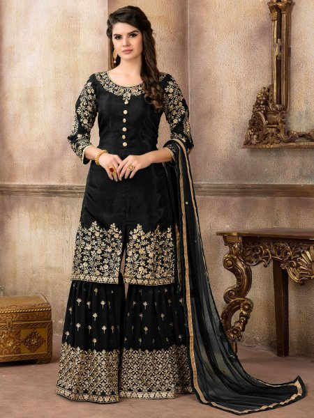 Black Viscose Uppada Silk Embroidered Party Sharara Pant Kameez