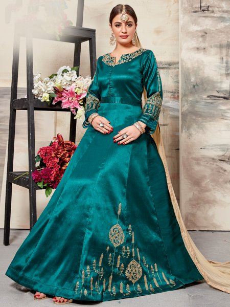 Teal Green Silk Embroidered Party Lawn Kameez