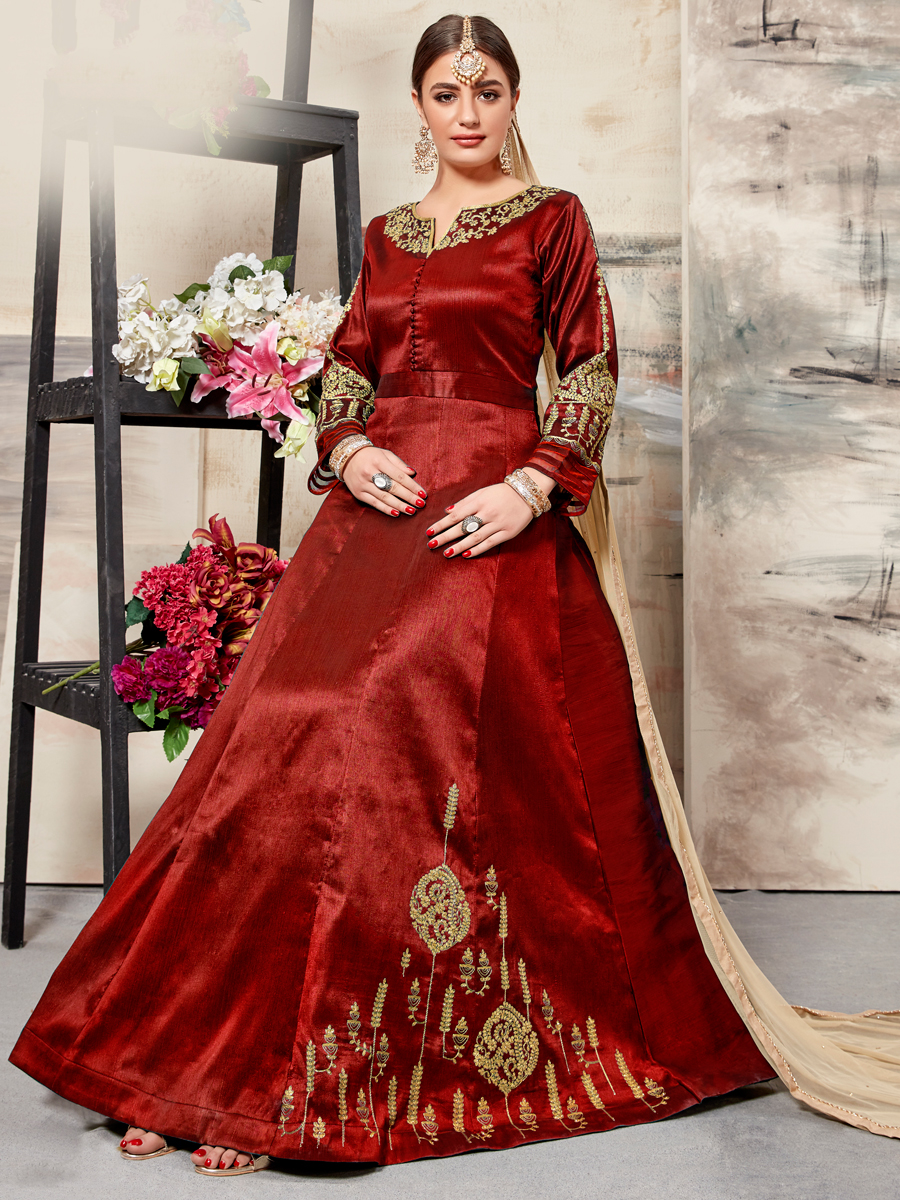 Venetian Red Silk Embroidered Party Lawn Kameez