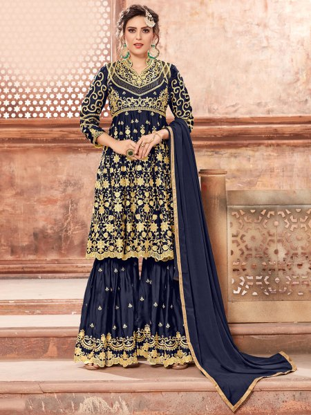 Sapphire Blue Satin Georgette Embroidered Party Sharara Pant Kameez