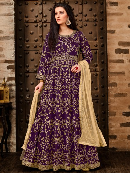 Amethyst Violet Taffeta Silk Embroidered Party Lawn Kameez