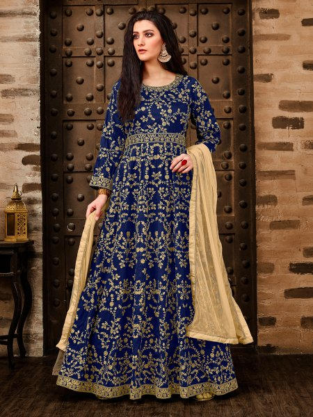 Navy Blue Taffeta Silk Embroidered Party Lawn Kameez