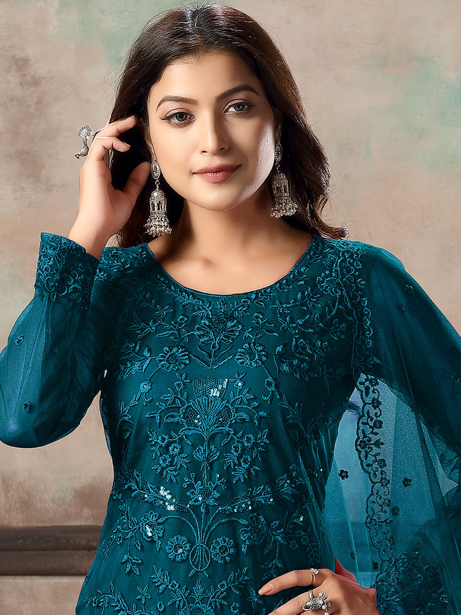 Teal Blue Net Embroidered Party Pant Kameez