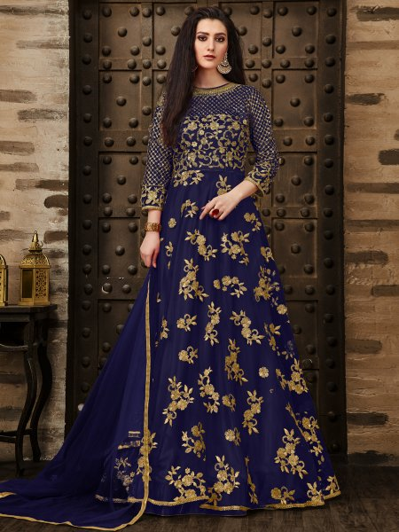 Sapphire Blue Net Embroidered Party Lawn Kameez