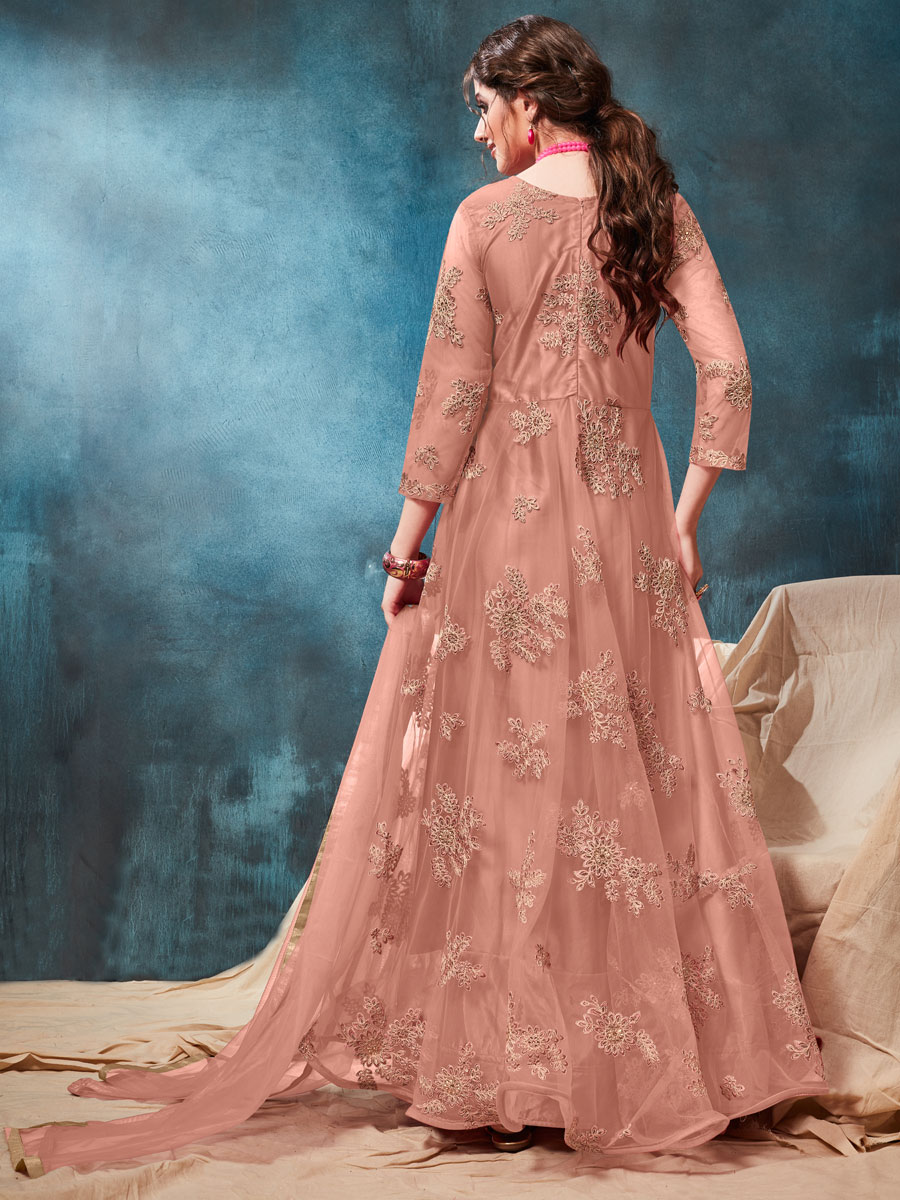 Coral Pink Net Embroidered Party Lawn Kameez