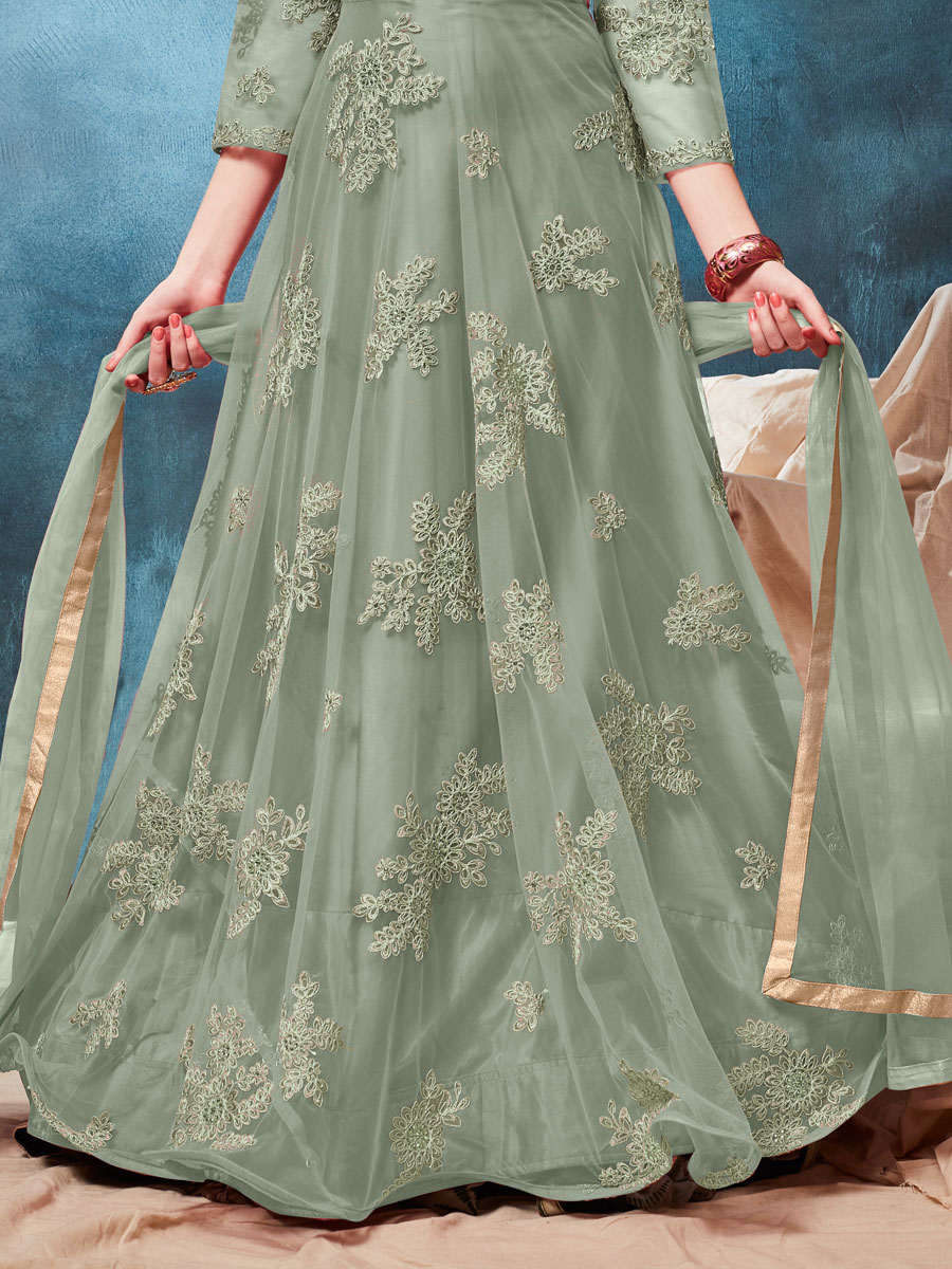 Dark Celadon Green Net Embroidered Party Lawn Kameez