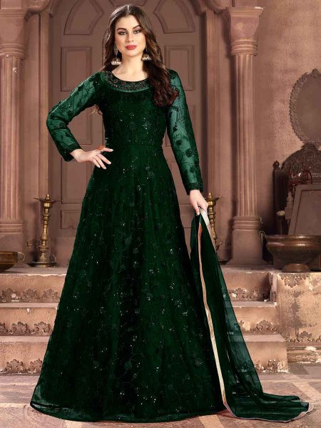 Dark Green Net Embroidered Party Lawn Kameez