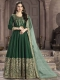Dark Green Silk Embroidered Party Lawn Kameez