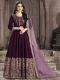 Byzantium Purple Silk Embroidered Party Lawn Kameez