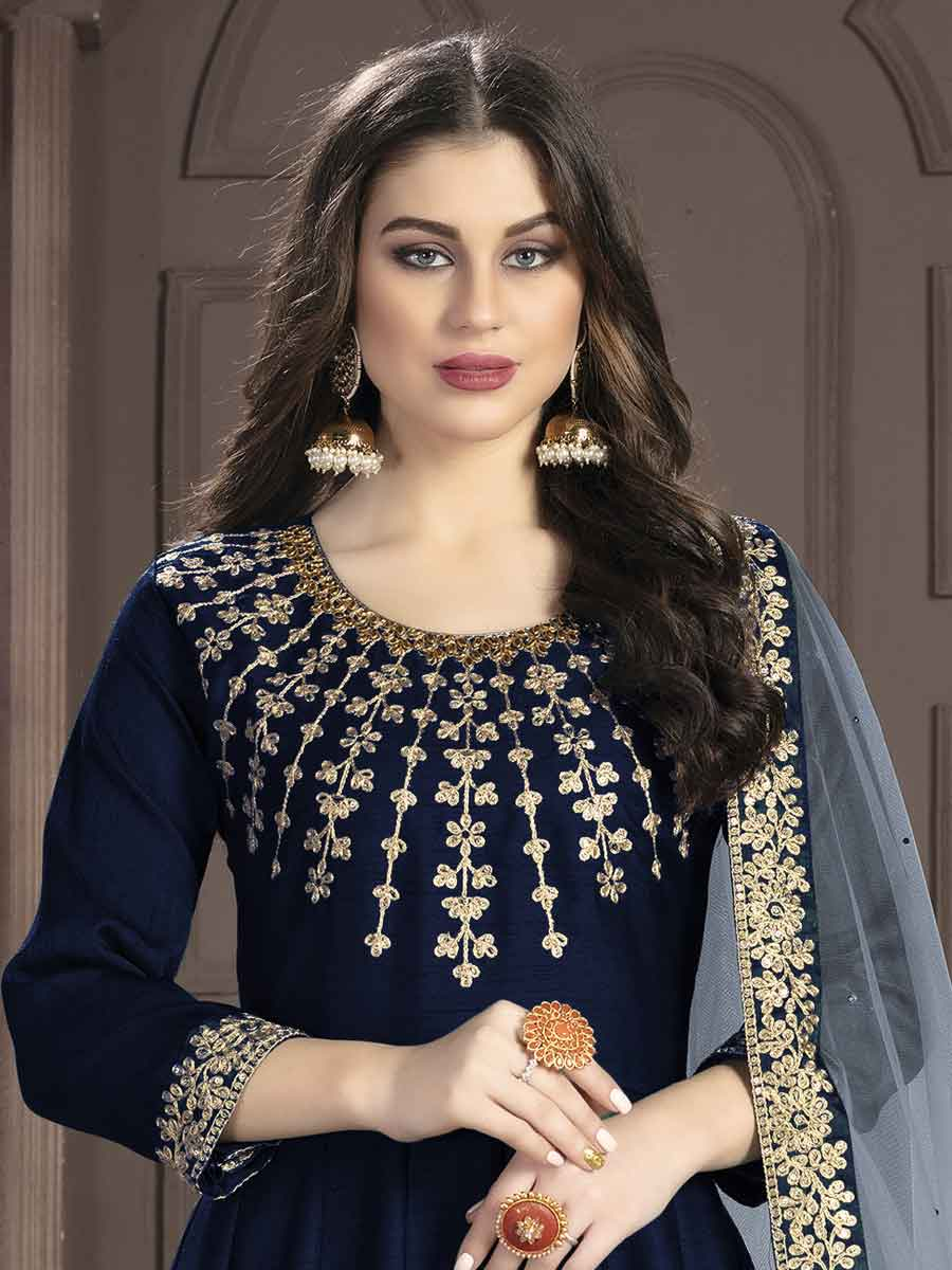 Navy Blue Silk Embroidered Party Lawn Kameez